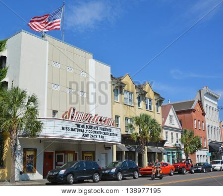 CHARLESTON SOUTH CAROLINA USA JUNE 27 2016: American Theater and its Art Deco facade stands out against the more neoclassical architecture of the surrounding buildings on Upper King Charleston.