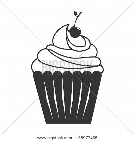 Cupcake delicious desert in black and white colors, isolated flat icon.