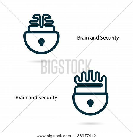 Creative brain sign with padlock symbol. Key of success.Concept of ideas inspiration innovation invention effective thinking and knowledge. Business and education idea concept. Vector illustration.