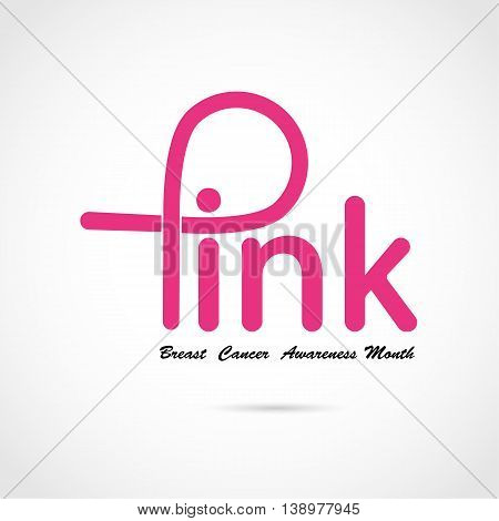 Breast cancer awareness logo design.Breast cancer awareness month icon.Realistic pink ribbon.Pink care logo.Pink word logo elements design.Vector illustration