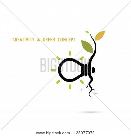 Plant growing inside the light bulb logo.Green eco energy concept.Tree of Knowledge concept. Education and business concept. Vector illustration