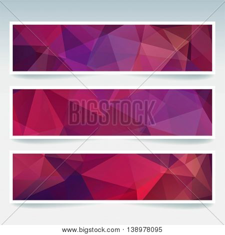 Horizontal Banners Set With Polygonal Triangles. Polygon Background, Vector Illustration. Purple Col