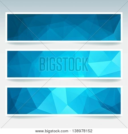Vector Banners Set With Polygonal Abstract Triangles. Abstract Polygonal Low Poly Backdrop. Blue Col