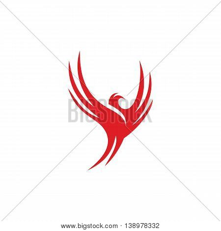 Isolated red color flying bird contour on the white background vector logo. Spreading wings dove silhouette logotype. International peace day symbol. Animal illustration. Freedom sign.