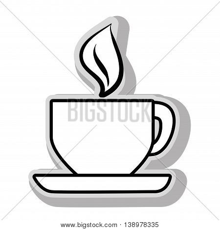 Fresh and hot coffee cup in black and white colors, isolated flat icon.