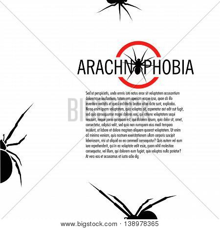 Isolated white color spider on the black background vector logo. Wild dangerous poisonous insect illustration flyer. Arachnophobia brochure. Halloween icon.
