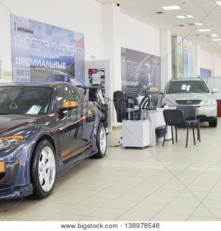Tula, Rossia, September, 2, 2015: second-hand cars in dealer's showroom. In the conditions of an economic crisis more and more buyers get cars in the secondary market in Russia