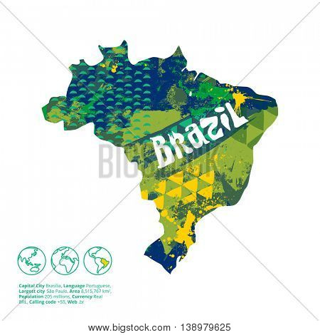 Brazil silhouette with abstract artistic texture inside. Vector illustration.
