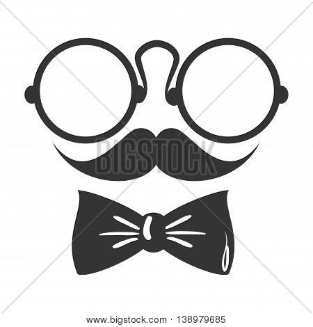 googles mustache tie , isolated flat icon with black and white colors.