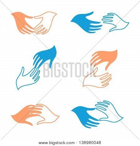 Isolated abstract human hands vector logo set. Touching fingers logotypes collection. Help and support sign. Charity icon. People friendship symbol.