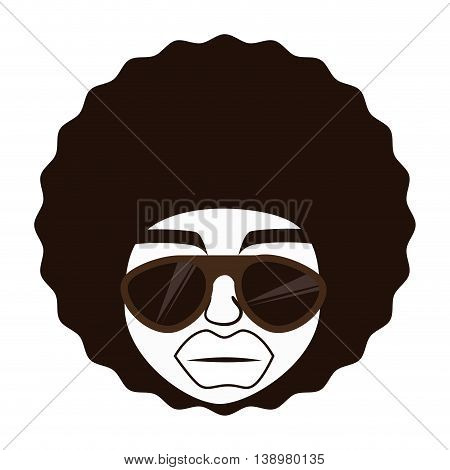 Man afro glasses cartoon , isolated flat icon with black and white colors.
