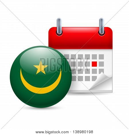 Calendar and round Mauritanian flag icon. National holiday in Mauritania