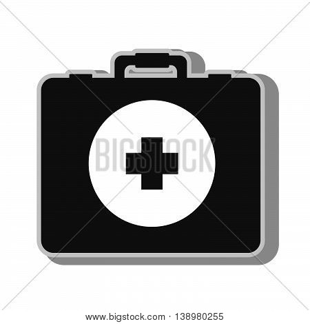 Medical first aids suitcase , isolated flat icon with black and white colors.