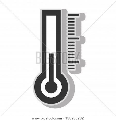 Thermometer temperature measurement , isolated flat icon with black and white colors.