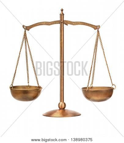 Old bronze balance scale isolated on white