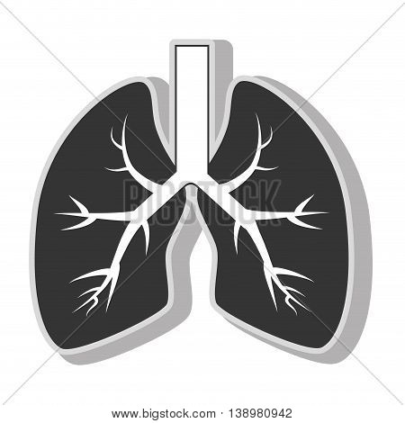 lung organ health , isolated flat icon with black and white colors.