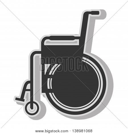 Handicap wheelchair disability , isolated flat icon with black and white colors.
