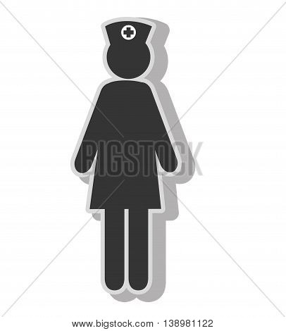 Nurse woman pictogram , isolated flat icon with black and white colors.