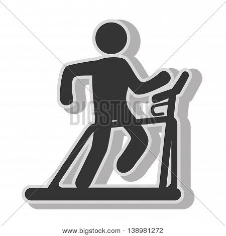 Man trainning cardio , isolated flat icon with black and white colors.