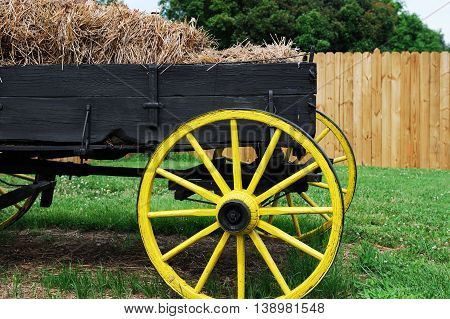 wagon in the farm outdoor for decoration