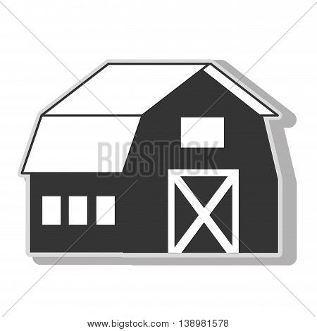 farm barn house , isolated flat icon vector illustration