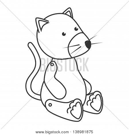 Teddy cat toy , black and white isolated flat icon