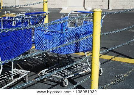 shopping cart in the collecting area surround by iron chain