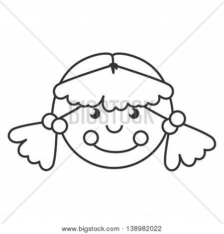 wooden doll toy , black and white isolated flat icon
