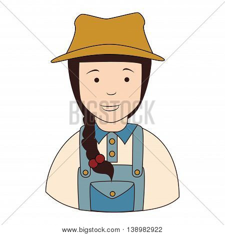 farmer girl overall, isolated flat icon design