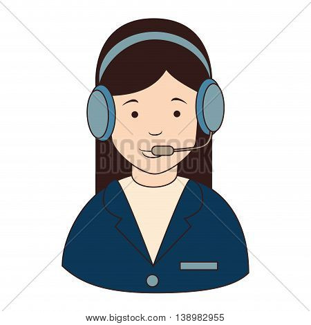 woman callcenter headphones , isolated flat icon design
