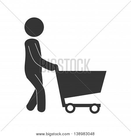 Man cart shopping , isolated flat icon design