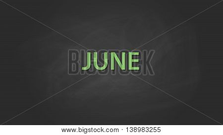 june month text written on the blackboard with chalk board effect vector graphic illustration