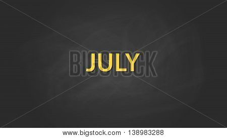 july month text written on the blackboard with chalk board effect vector graphic illustration