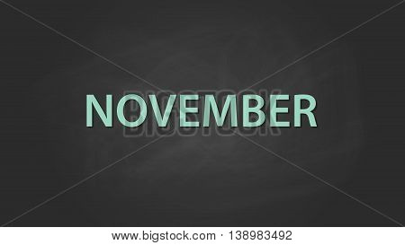 november month text written on the blackboard with chalk board effect vector graphic illustration