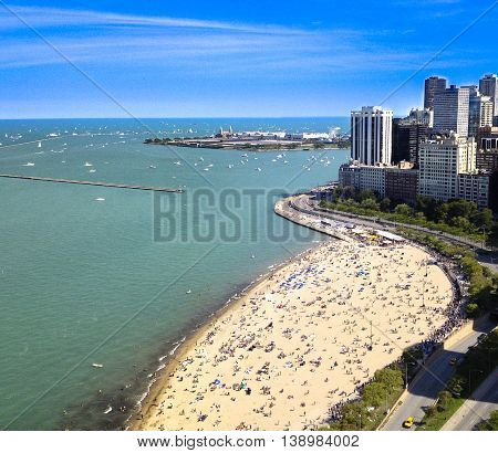 Chicago beach shot from Lake Shore drive high rise.