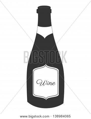 Wine glass bottle, isolated flat icon design.