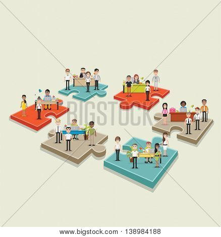 Puzzle pieces with business people working with computer. Office workspace with desks. Infographic design.