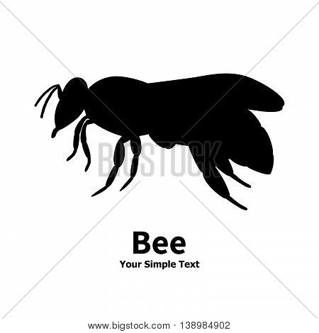 Vector illustration of a silhouette of a black bee on an isolated white background. Bee side view profile.