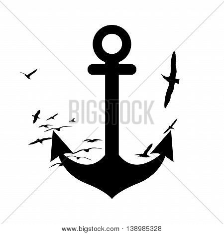 Anchor and seagulls black silhuette on white