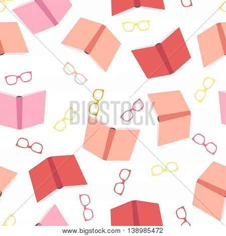 Seamless pattern with colorful books and glasses on white background. Perfect for school projects wrapping paper textile cards and invitations. Educational concept. Vector flat design.