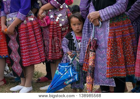 MOC CHAU, VIETNAM, January 19, 2016 ethnic Hmong baby, highland Moc Chau, Vietnam, looking cute