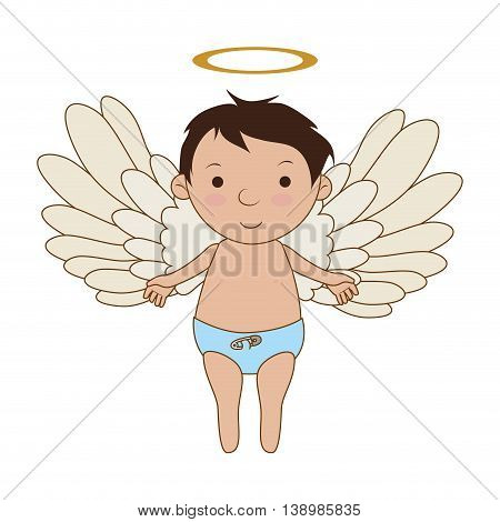 Baby angel cartoon, isolated flat icon design.