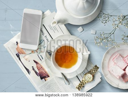 Tea Newspaper Watch Information Simple Relax Concept