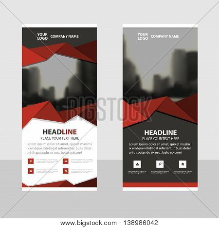 Red polygon triangle abstract Business Roll Up Banner flat design template Abstract Geometric banner template Vector illustration set abstract presentation brochure flyer template vertical template vector