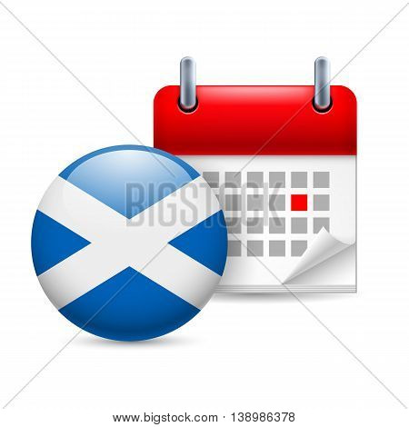 Calendar and round Scottish flag icon. National holiday in Scotland