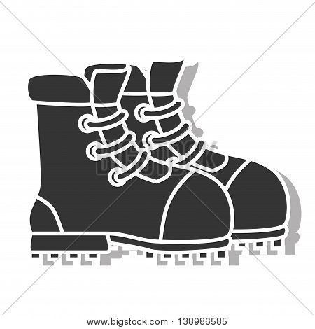 Boot footwear , isolated black and white flat icon design