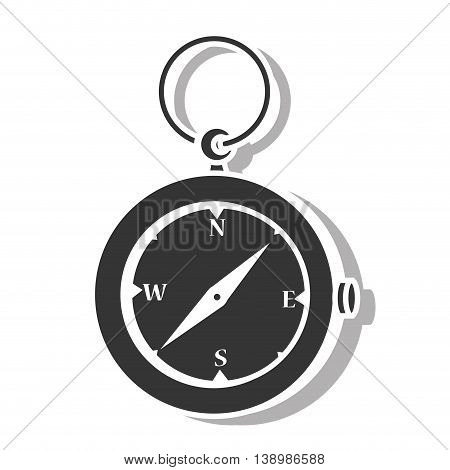 Compass orienteering , isolated black and white flat icon design