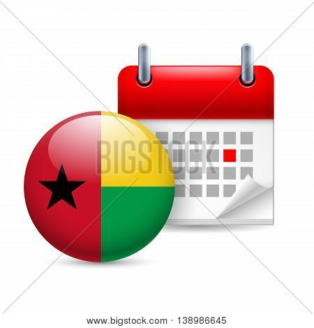Calendar and round flag icon. National holiday in Guinea-Bissau