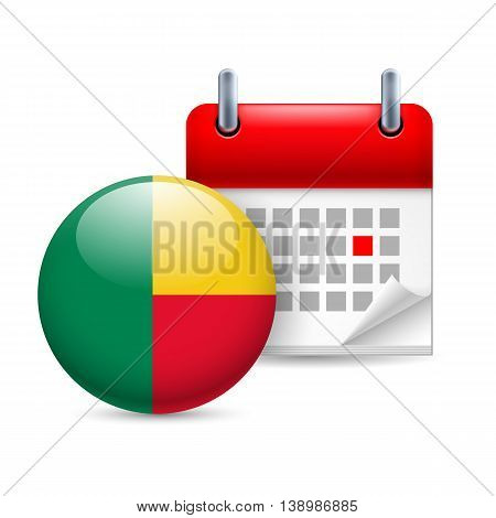 Calendar and round Beninois flag icon. National holiday in Benin