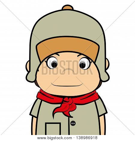 Scout boy cartoon, isolated flat icon design